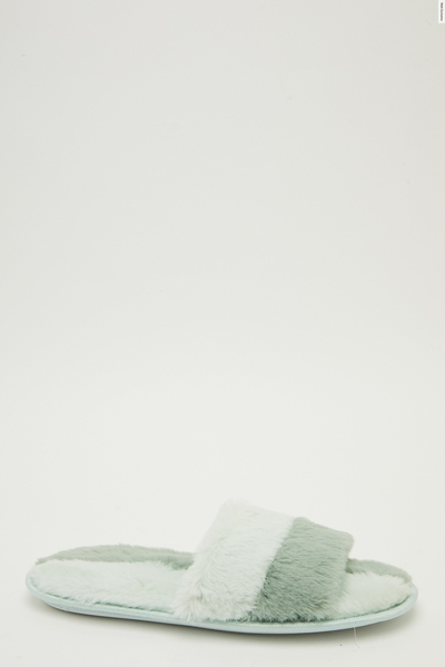 Mint Faux Fur Two Tone Slippers